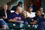 First lady Jill Biden sits with military members and first responders as they attend a baseball game between the Houston Astros and the Baltimore Orioles at Minute Maid Park, in Houston, Tuesday, June 29, 2021. (AP Photo/Carolyn Kaster, Pool)