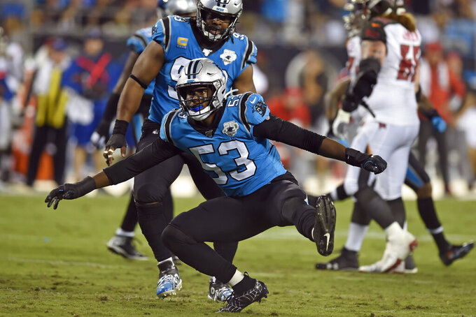 Carolina Panthers defensive end Brian Burns (53) reacts following a play during the first half of an NFL football game against the Tampa Bay Buccaneers in Charlotte, N.C., Thursday, Sept. 12, 2019. (AP Photo/Mike McCarn)