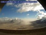 This Sept. 29, 2014 photo provided by the U.S. Geological Survey shows resuspended 1912 Novarupta/Katmai ash, as seen from a webcam in the Valley of Ten Thousand Smokes in Katmai National Park and Preserve in Alaska. While western U.S. states were suffering from hazy red skies from wildfires, Alaska was dealing with an air quality problem born a century ago. Strong southerly winds picked up loose ash from a 1912 volcanic eruption, sending an ash cloud about 4,000 feet into the sky. (Alaska Volcano Observatory/U.S. Geological Survey via AP)