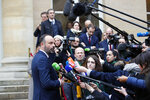 French Prime Minister Edouard Philippe delivers a statement after a meeting with unions representatives, in Paris Tuesday Jan. 7, 2020. Negotiations to end record-setting strikes that have hobbled France's train network and made commuting miserable for Parisians are resuming Tuesday between the government and unions. (AP Photo/Francois Mori)