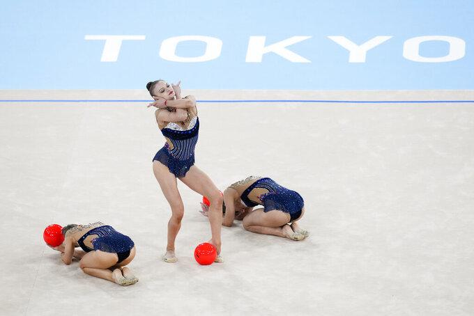 Bulgaria's rhythmic gymnastics' team performs during the rhythmic gymnastics group all-around final at the 2020 Summer Olympics, Sunday, Aug. 8, 2021, in Tokyo, Japan. (AP Photo/Ashley Landis)