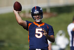 Denver Broncos quarterback Joe Flacco takes part in drills during the opening day of the team's NFL football training camp Thursday, July 18, 2019, in Englewood, Colo. (AP Photo/David Zalubowski)