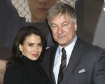 Hilaria Baldwin, left, and Alec Baldwin attend the Broadway opening night of
