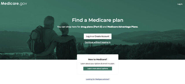 This image from the Medicare.gov website shows the landing page to find a drug plan for seniors. Leading senators are urging Medicare to allow seniors concerned about their drug plan pick for next year to switch if they believe they received inaccurate information. (Medicare via AP)