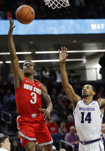 Ohio State guard C.J. Jackson, left, drives to the basket against Northwestern guard Ryan Taylor during the first half of an NCAA college basketball game Wednesday, March 6, 2019, in Evanston, Ill. (AP Photo/Nam Y. Huh)