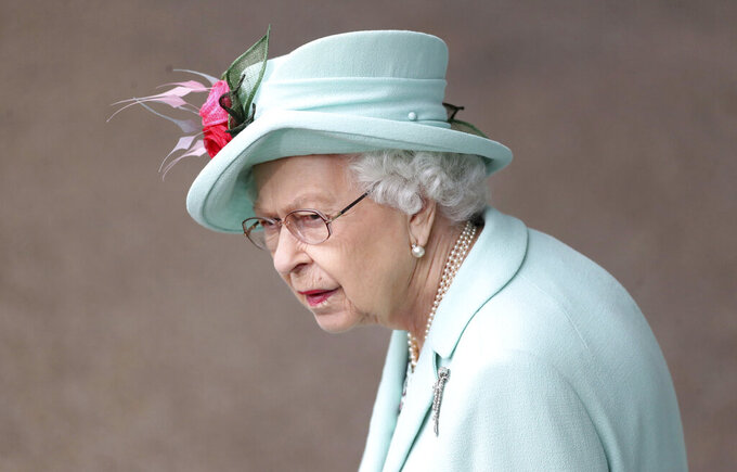 Britain's Queen Elizabeth II look on, during day five of of the Royal Ascot horserace meeting, at Ascot Racecourse, in Ascot, England, Saturday June 19, 2021. (David Davies/PA via AP)