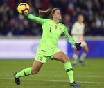 FILE - In this Jan. 19, 2019, file photo, U.S. goalkeeper Alyssa Naeher throws the ball during a women's international friendly soccer match against France at Oceane Stadium in Le Havre, France. Alyssa Naeher recalls that as a freshman in college a teammate told her she couldn't afford to be intimidated. The U.S. national team goalkeeper carries that advice as she prepares for the World Cup. (AP Photo/David Vincent, File)