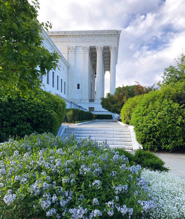 Flowers are blooming outside the front of the Supreme Court building on Capitol Hill in Washington, Monday morning, May 11, 2020. (AP Photos/Mark Sherman)