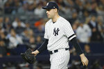 New York Yankees relief pitcher Adam Ottavino leaves the game during the seventh inning in Game 3 of baseball's American League Championship Series against the Houston Astros Tuesday, Oct. 15, 2019, in New York. (AP Photo/Matt Slocum)