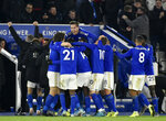 Leicester's Kelechi Iheanacho celebrates with teammates after scoring his side's second goal during the English Premier League soccer match between Leicester City and Everton at the King Power Stadium in Leicester, England, Sunday, Dec. 1, 2019. (AP Photo/Rui Vieira)