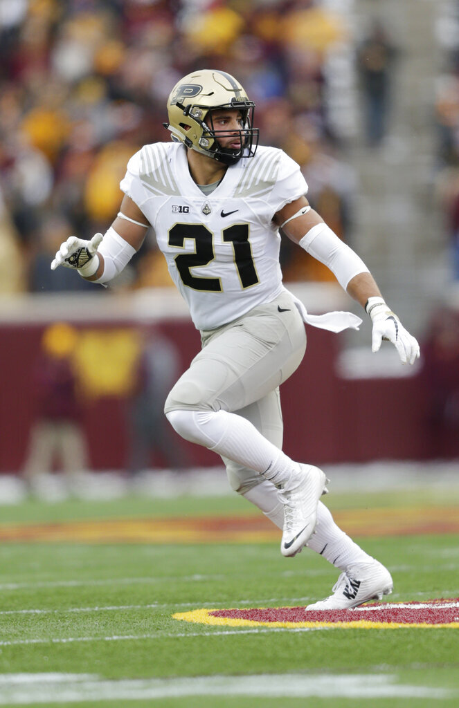 In this Saturday, Nov. 10, 2018, file photo, Purdue linebacker Markus Bailey runs against Minnesota in the first half of a NCAA college football game in Minneapolis.The Boilermakers' fate may rest with the offensive and defense lines. (AP Photo/Andy Clayton-King, File)