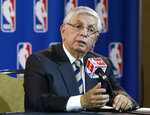 FILE - In this Wednesday, May 15, 2013 file photo, NBA Commissioner David Stern takes a question from a reporter during a news conference following an NBA Board of Governors meeting in Dallas. David Stern, who spent 30 years as the NBA's longest-serving commissioner and oversaw its growth into a global power, has died on New Year's Day, Wednesday, Jan. 1, 2020. He was 77.  (AP Photo/Tony Gutierrez, File)