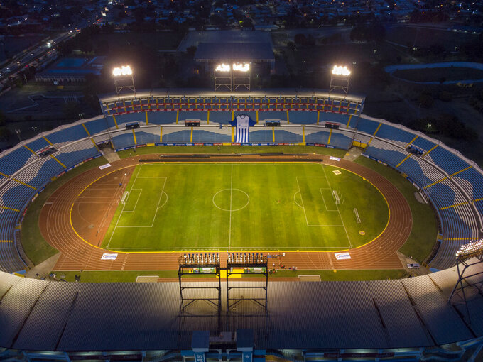 An aerial view of the Estadio Olimpico Metropolitano ahead of the FIFA World Cup Qatar 2022 qualifying soccer match between Honduras and the United States in San Pedro Sula, Honduras, Tuesday, Sept. 7, 2021. (AP Photo/Moises Castillo)