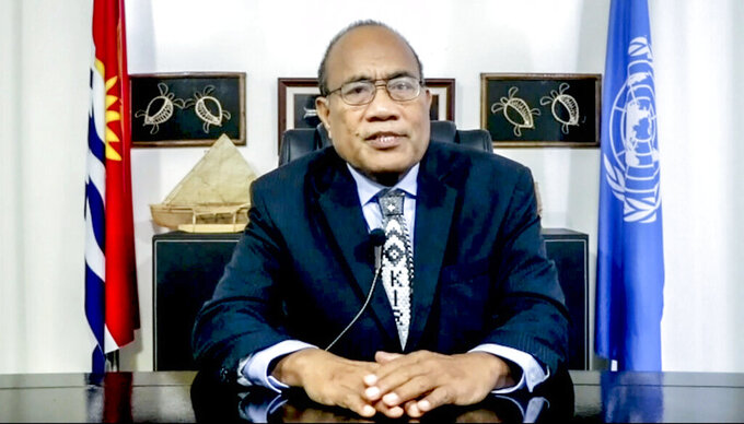 In this photo taken from video, Taneti Maamau, President of Kiribati, remotely addresses the 76th session of the United Nations General Assembly in a pre-recorded message, Thursday, Sept. 23, 2021, at UN headquarters. (UN Web TV via AP)