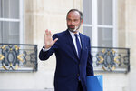 FILE - In this Wednesday, June 3, 2020 file photo, French Prime Minister Edouard Philippe leaves after a meeting at the Elysee Palace in Paris. The French Presidency announced on Friday, July 3, 2020 that Philippe has resigned and a government reshuffle is expected in the coming days.  (Gonzalo Fuentes/Pool via AP, File)