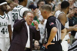 Michigan State head coach Tom Izzo argues a call with a referee during the second half of an NCAA college basketball game against Northwestern, Wednesday, Jan. 29, 2020, in East Lansing, Mich. (AP Photo/Carlos Osorio)