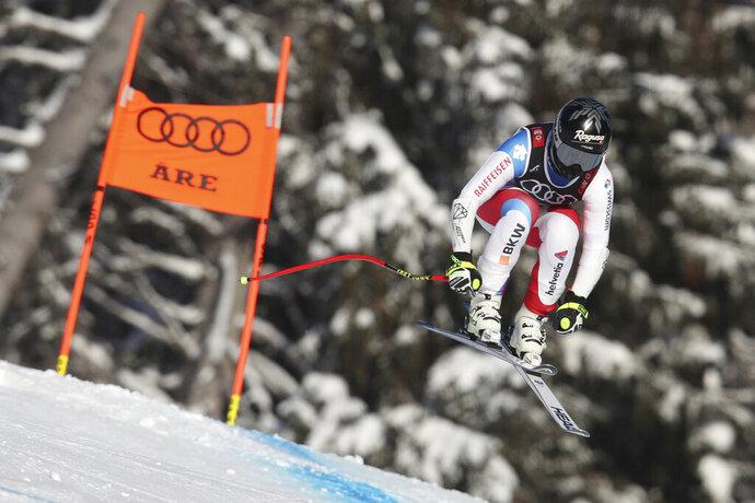 Switzerland's Lara Gut competes during a women's downhill training at the Alpine Ski World Championships in Are, Sweden, Monday, Feb. 4, 2019. (AP Photo/Shinichiro Tanaka)