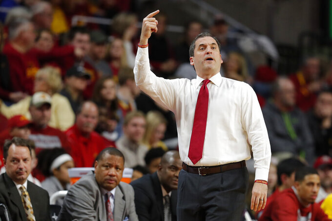 Iowa State coach Steve Prohm directs his team against Florida A&M during the first half of an NCAA college basketball game Tuesday, Dec. 31, 2019, in Ames, Iowa. (AP Photo/Matthew Putney)