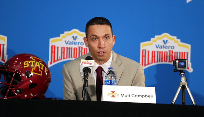 Iowa State head coach Matt Campbell answers a question during a news conference, Thursday, Dec. 27, 2018, in San Antonio. Iowa State is set to play Washington State in Friday's NCAA college football Alamo Bowl. (AP Photo/Eric Gay)