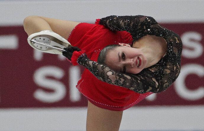 Russia's Alina Zagitova performs in the ladies free skating during the ISU World Figure Skating Championships at Saitama Super Arena in Saitama, north of Tokyo, Friday, March 22, 2019. (AP Photo/Andy Wong)