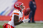 Kansas City Chiefs kick returner Byron Pringle catches a kickoff before running it back for a touchdown during the first half of an NFL football game against the Denver Broncos, Sunday, Oct. 25, 2020, in Denver. (AP Photo/David Zalubowski)