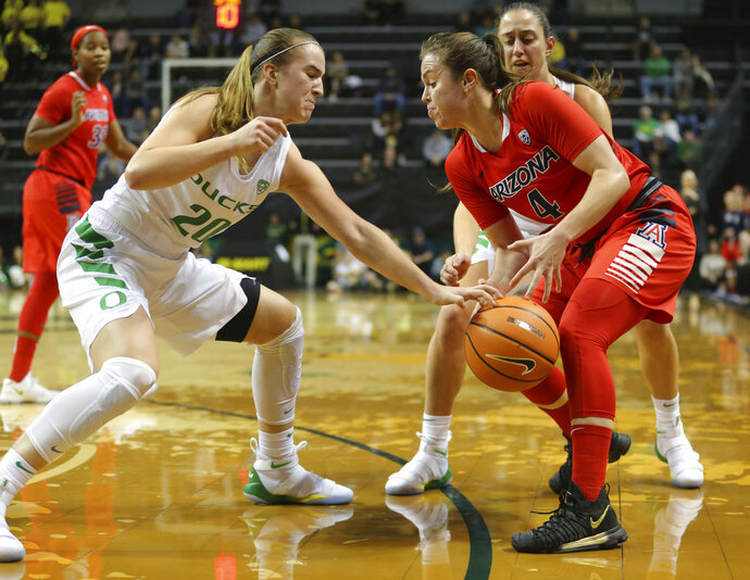 Oregon's Sabrina Ionescu knocks the ball away from Arizona's Lucia Alonzo during an NCAA college basketball game in Eugene, Ore., Friday, Jan. 12, 2018. (Brian Davies/The Register-Guard via AP)