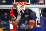 Georgia forward Mike Peake dunks the ball against Mississippi in the second half of an NCAA college basketball game in the Southeastern Conference Tournament Wednesday, March 11, 2020, in Nashville, Tenn. Georgia won 81-63. (AP Photo/Mark Humphrey)