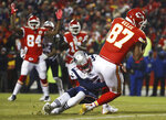 Kansas City Chiefs tight end Travis Kelce (87) makes a touchdown catch against New England Patriots defensive back J.C. Jackson (27) during the second half of the AFC Championship NFL football game, Sunday, Jan. 20, 2019, in Kansas City, Mo. (AP Photo/Charlie Riedel)