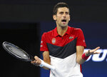 Novak Djokovic of Serbia reacts after being heckled by a spectator during his match against Kevin Anderson of South Africa at the ATP Cup tennis tournament in Brisbane, Australia, Saturday, Jan. 4, 2020. (AP Photo/Tertius Pickard)