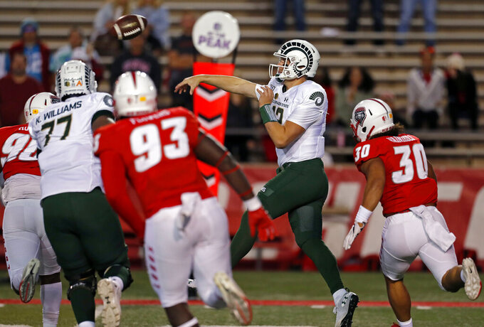 Colorado State quarterback Patrick O'Brien (12) throws against New Mexico during the first half of an NCAA college football game Friday, Oct. 11, 2019 in Albuquerque, N.M. (AP Photo/Andres Leighton)