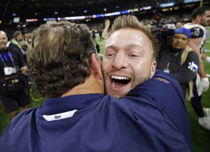 Los Angeles Rams head coach Sean McVay reacts after a game-winning field goal during overtime of the NFL football NFC championship game against the New Orleans Saints Sunday, Jan. 20, 2019, in New Orleans. The Rams won 26-23. (AP Photo/David J. Phillip)