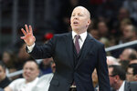 Cincinnati coach Mick Cronin gestures during the first half of the team's NCAA college basketball game against SMU, Saturday, Feb. 2, 2019, in Cincinnati. (AP Photo/John Minchillo)