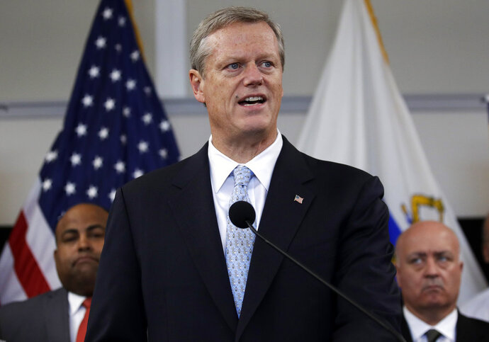 Mass. Gov. Charlie Baker addresses reporters during a press update on the recovery efforts following last week's gas explosions in the Merrimack Valley in Lawrence, Mass., Friday, Sept. 21, 2018. Nearly 9,000 homes and businesses may be without gas for weeks as investigators continue to probe what set off the explosions.(AP Photo/Charles Krupa)