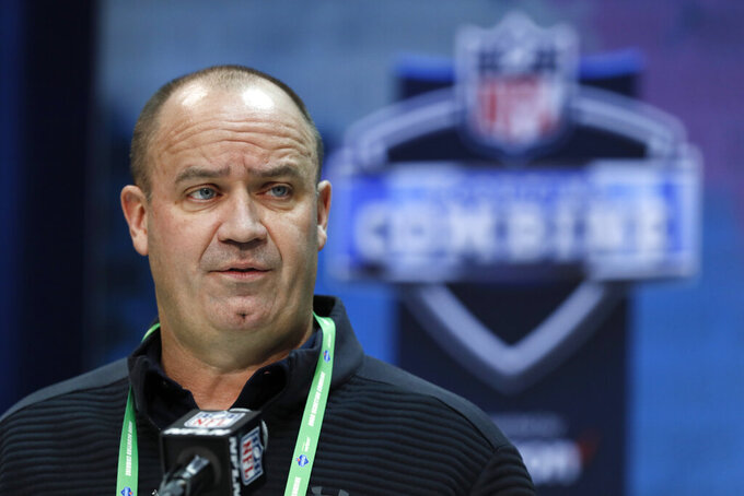 FIL - In this Feb. 25, 2020, file photo, Houston Texans head coach Bill O'Brien speaks during a press conference at the NFL football scouting combine in Indianapolis. The Houston Texans don't have a first-round pick in this year's draft after trading it to Miami last year as part of the deal for Laremy Tunsil and Kenny Stills. (AP Photo/Charlie Neibergall, File)
