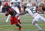 Utah wide receiver Demari Simpkins (7) eludes Oregon cornerback Deommodore Lenoir (15) in the first half during an NCAA college football game Saturday Nov. 10, 2018, in Salt Lake City. (AP Photo/Rick Bowmer)