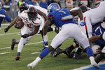 Texas Tech running back Armand Shyne (5) is stopped short of the goal line by Kansas linebacker Azur Kamara (5) during the first half of an NCAA college football game in Lawrence, Kan., Saturday, Oct. 26, 2019. (AP Photo/Orlin Wagner)