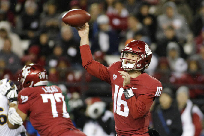 FILE - In this Saturday, Nov. 3, 2018, file photo, Washington State quarterback Gardner Minshew II (16) throw a pass during the first half of the team's NCAA college football game against California in Pullman, Wash. Minshew is the nation's leading passer with 3,517 yards, 27 TDs and seven interceptions. (AP Photo/Young Kwak, File)