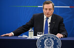 "Mario Draghi speaks during a press conference in Rome Thursday, April 8, 2021. Italian Prime Minister Mario Draghi used strong words against Turkish President Recep Tayyip Erdogan and decried the treatment Ursula von der Leyen got in Ankara as ""inappropriate."" (Riccardo Antimiani/Pool Photo via AP)"