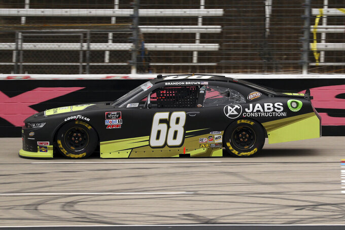 NASCAR Xfinity Series driver Brandon Brown (68) comes down the front stretch during a NASCAR Xfinity Series auto race at Texas Motor Speedway in Fort Worth, Texas, Saturday Oct. 24, 2020. (AP Photo/Richard W. Rodriguez)