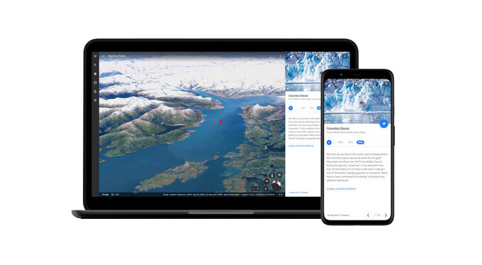 This image provided by Google shows a still image of the Columbia Glacier in Alaska as part of a new time-lapse video feature coming out as part of the biggest update to the Google Earth app in five years. The app is adding a new video feature that draws upon nearly four decades of satellite imagery to illustrate how climate change has affected glaciers, beaches, forests and other places around the world.  (Google via AP)