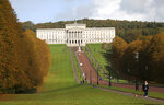 The grounds of Stormont estate beside Parliament buildings, Belfast, Northern Ireland, Thursday, Oct. 17, 2019. The Democratic Unionist Party has announced Thursday that it will be unable to support the British Prime Minister's new Brexit deal.(AP Photo/Peter Morrison)