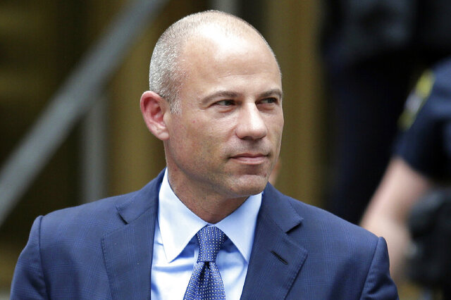 FILE - In this May 28, 2019, file photo, California attorney Michael Avenatti leaves a courthouse in New York following a hearing. Avenatti wants to portray Nike as a villain and himself a hero at his extortion trial later this month, the company said in a court filing made public Thursday, Jan. 2, 2020. Avenatti has pleaded not guilty to the charges and said he is being prosecuted unfairly by a U.S. Justice Department beholden to a president he has criticized on social media and in numerous television appearances. (AP Photo/Seth Wenig, File)