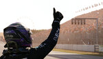Second placed Mercedes driver Lewis Hamilton of Britain celebrates after the Formula One Dutch Grand Prix, at the Zandvoort racetrack, Netherlands, Sunday, Sept. 5, 2021. (AP Photo/Francisco Seco)