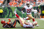 San Francisco 49ers running back Matt Breida (22) runs the ball during the second half an NFL football game against the Cincinnati Bengals, Sunday, Sept. 15, 2019, in Cincinnati. (AP Photo/Frank Victores)