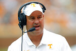 FILE - In this Sept. 14, 2019, file photo, Tennessee head coach Jeremy Pruitt yells to his players during an NCAA college football game against Chattanooga in Knoxville, Tenn. Pruitt said he canceled Friday's practice for No. 25 Tennessee due to a