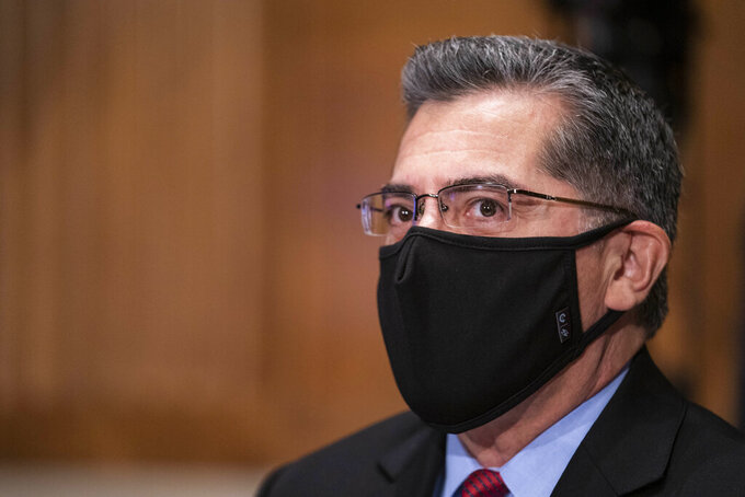 Xavier Becerra listens during a confirmation hearing to be Secretary of Health and Human Services before the Senate Health, Education, Labor and Pensions Committee, Tuesday, Feb. 23, 2021 on Capitol Hill in Washington.  (Sarah Silbiger/Pool via AP)