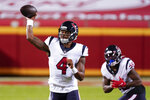 Houston Texans quarterback Deshaun Watson (4) passes against the Kansas City Chiefs in the first half of an NFL football game Thursday, Sept. 10, 2020, in Kansas City, Mo. (AP Photo/Charlie Riedel)