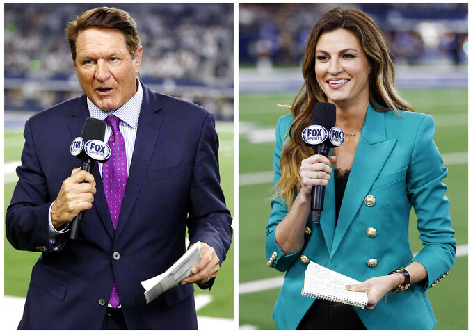 This combination of  2019 file photos , Fox NFL sideline reporters Chris Myers, left, and Erin Andrews in Arlington, Texas. Myers and rin Andrews will be doing a little bit of everything on the sidelines for Fox's broadcast of Super Bowl 54. Not only will they be filing reports, but will be the eyes and ears for the production truck as well as Joe Buck and Troy Aikman in the booth. (AP Photo/Michael Ainsworth, File)