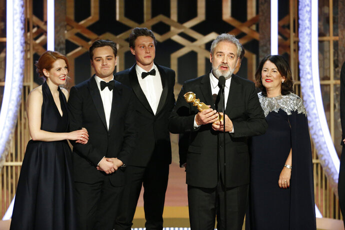 This image released by NBC shows filmmaker Sam Mendes accepting the award for best motion picture drama for
