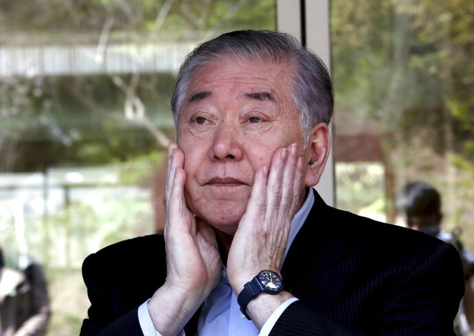 Moon Chung-in, a retired Yonsei University professor who is an influential adviser to President Moon Jae-in on inter-Korean and security issues, listens to a question during an interview at Yonsei University in Seoul, South Korea, Tuesday, April 17, 2018. Moon says North Korean leader Kim Jong Un likely decided to put his nuclear weapons program up for negotiation to win outside rewards so he can improve his country's economy, win public trust at home and prolong his leadership. (AP Photo/Ahn Young-joon)